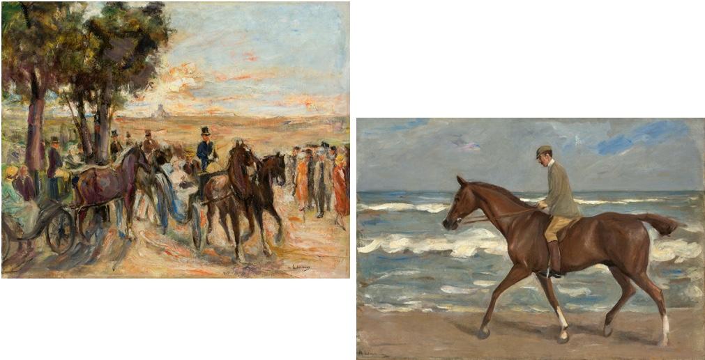 MAX LIEBERMANN (1847 Berlin 1935) Links: Corso auf dem Monte Pincio in Rom, Öl/Lwd., signiert, 1930-32 Rechts: Reiter am Strand nach links, Öl/Lwd., signiert, 1900