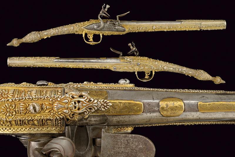 Paar Steinschlosspistolen, Eisen, Messing, Silber, Gold, Epirus spätes 18. Jh.