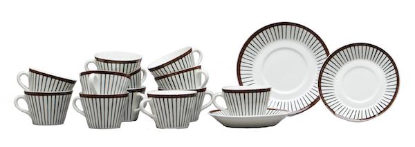 """Kaffeservis, 12 delar, Stig Lindberg, """"Spisa Ribb"""", Gustavsberg. Bukowskis Market. Utropspris: 1500 kronor."""