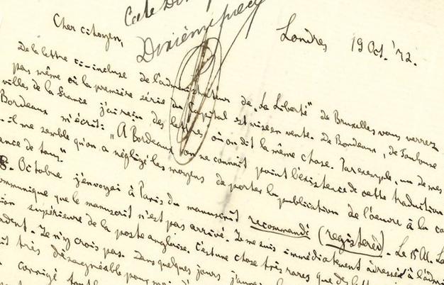 Extrait de lettre issue de la correspondance entre Marx et Lachâtre, image ©Ader-Nordmann