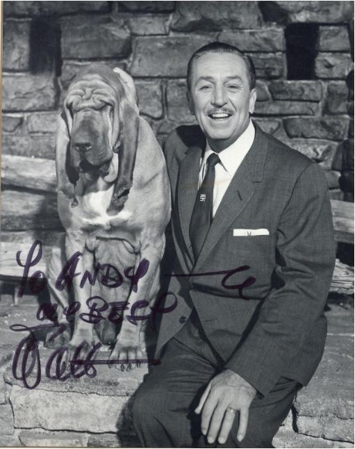 """S/W-Foto von Walt Disney mit Widmung und Unterschrift """"Walt"""" Dreweatts & Bloomsbury"""