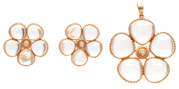 Örhängen i 18K roséguld, rosenkvarts, med två briljantslipade diamanter. Hänge i 18K roséguld, rosenkvarts och briljantslipad diamant. Säljes separat.