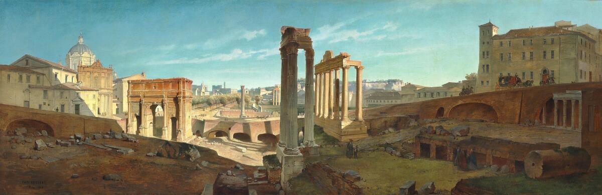 CARL REICHERT - Panoramablick von Rom über das Forum Romanum, 1868