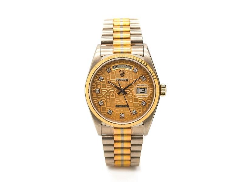 Reloj ROLEX Tridor Day Date de pulsera en oro blanco, amarillo y rosa para caballero. Esfera jubilé de nácar amarillo engastada de brillantes