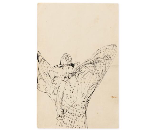 Dessin, « Reynaldo Hahn en gloire », dès 1905 ou après avril 1907, image ©Sotheby's