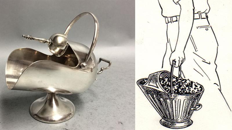 鍍銀的糖器皿附上勺子, 煤桶造型, 英國,約1920年