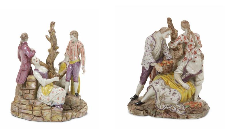 Links: Porzellangruppe der Manufaktur Ginori, Doccia 1770-80 Rechts: Porzellangruppe der Manufaktur Ginori, Doccia 1770-80
