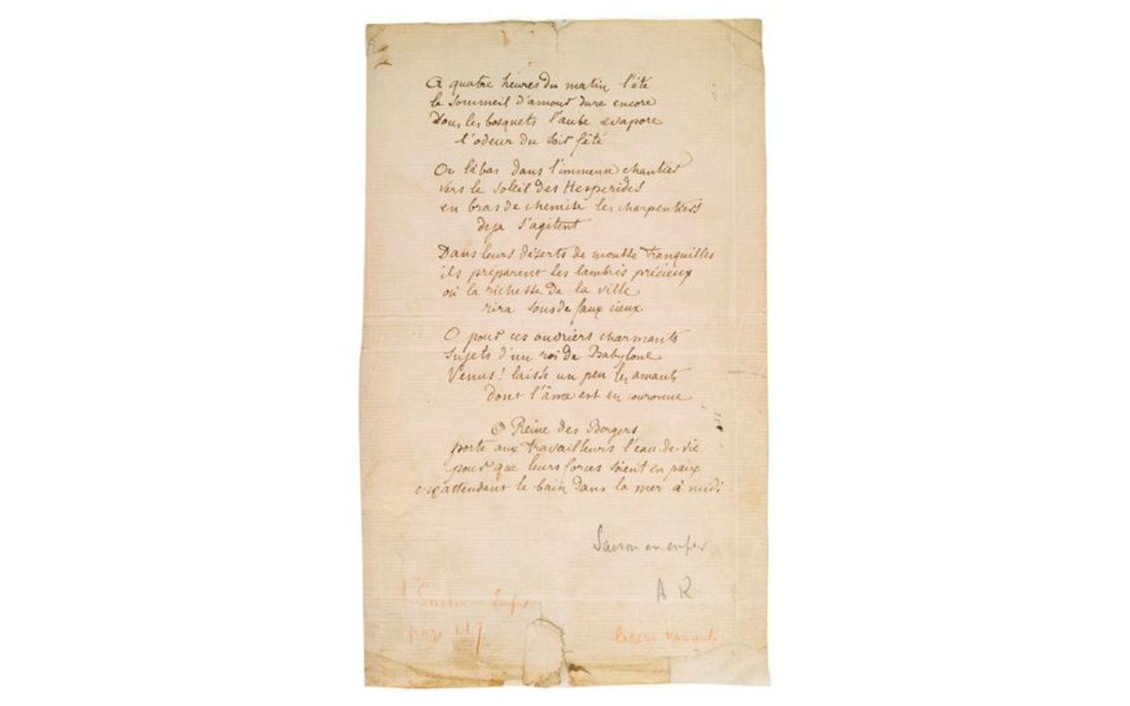 Arthur Rimbaud, Bonne pensée du matin, poème autographe, été 1872, image via Aguttes
