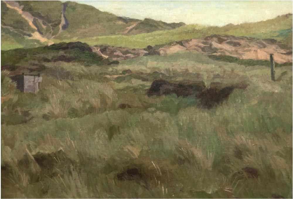 FRITZ OVERBECK (1869 Bremen-1909 Bröcken/b. Vegesack) - Dünenlandschaft, Öl/Lwd., bezeichnet