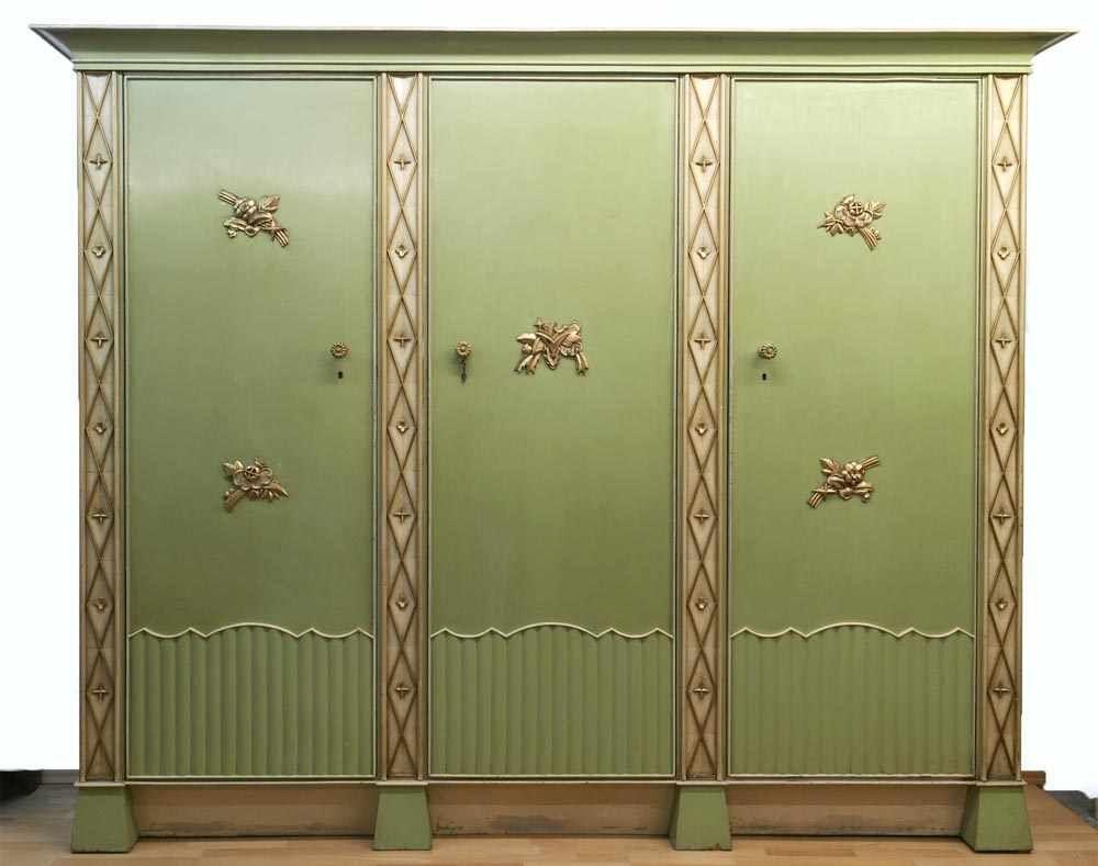 Art déco-Schrank, 3-türig, vergoldete Stilelemente