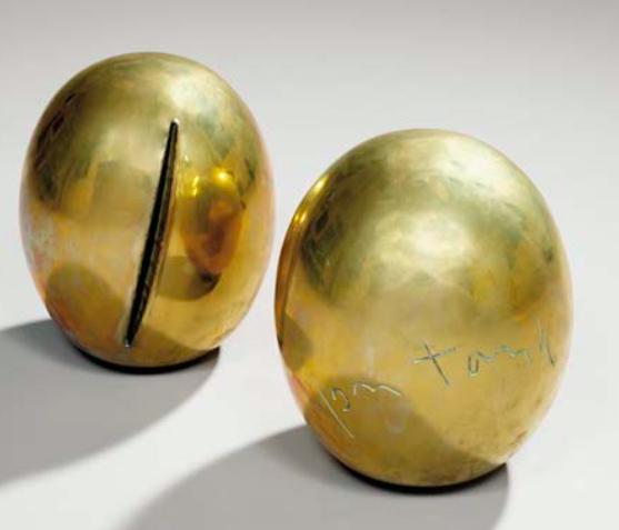 Lucio Fontana (1899-1968) Concetto spaziale (en deux parties). Sculptures en bronze doré, signées, numérotées 244/500 Sold at Tajan in 2003 for £35 500