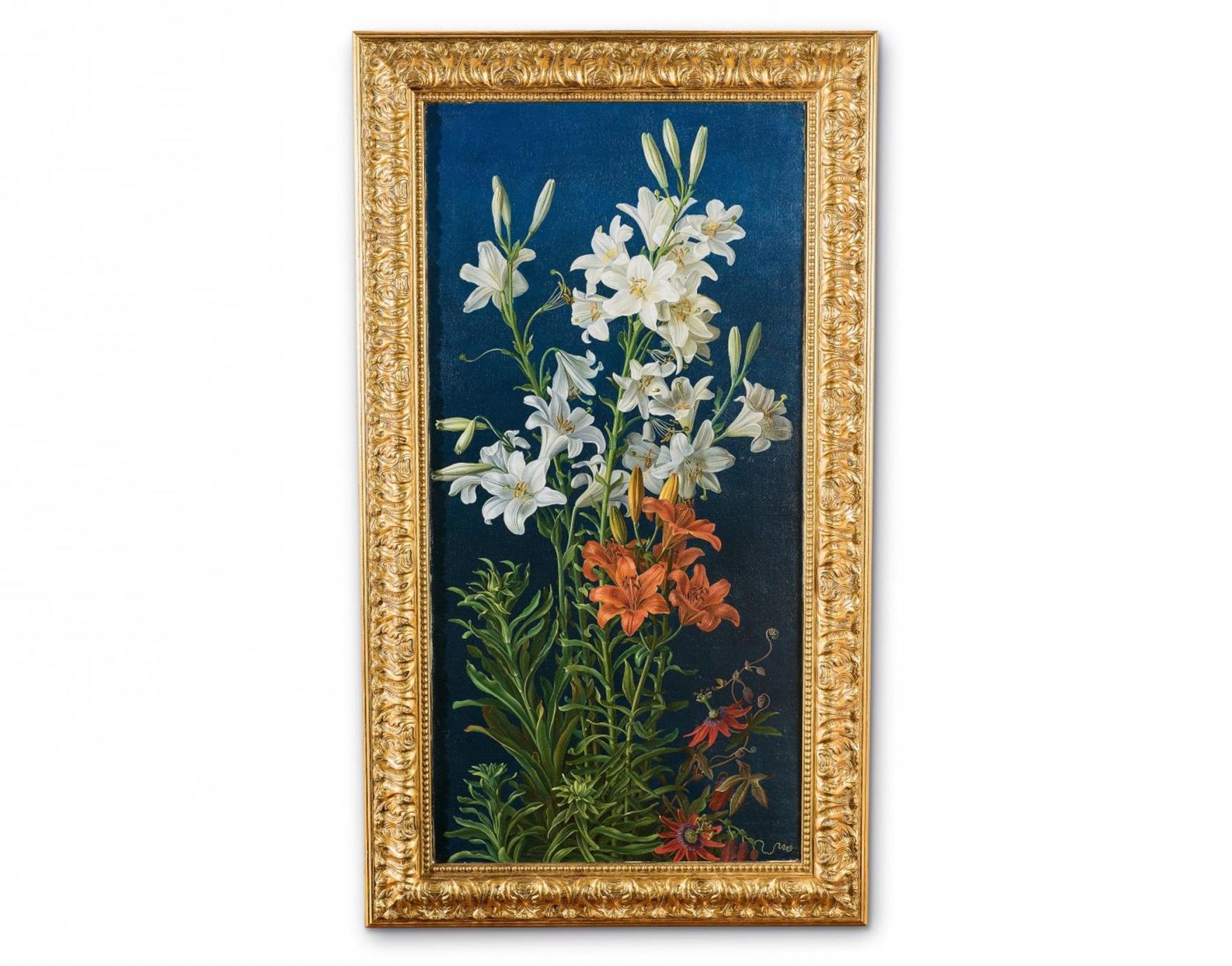 Gottfried Wilhelm Völcker, Lis blancs et lis de feu entrelacés de fleurs de la passion, huile sur toile, 1837, image ©Lempertz