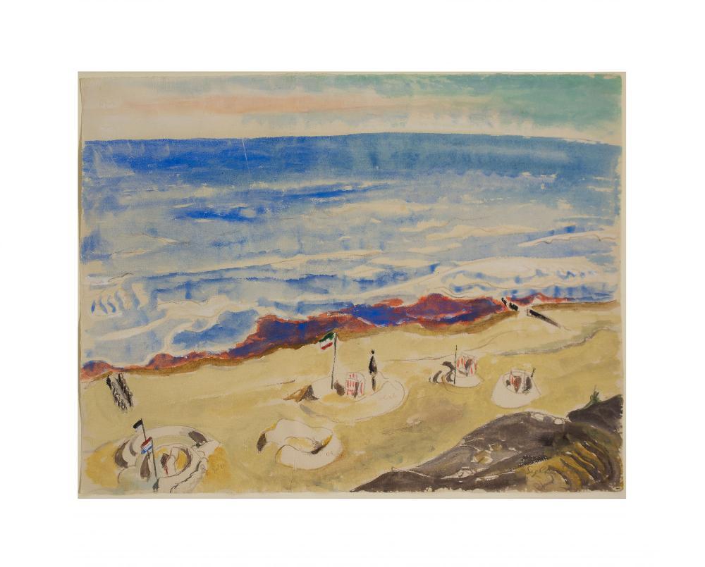 ERICH HECKEL (1883 Döbeln - 1970 Radolfzell) - Sylter Strand, Aquarell/Bütten, betitelt, signiert und datiert, 1931