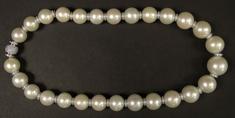 Beautiful Single Strand of Graduated 15.0mm to 19.0mm South Sea Pearl Necklace. Estimate $7,000 – $9,000. Photo via Kodner Gallery