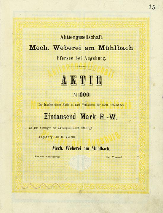 486 - Aktiengesellschaft Mech. Weberei am Mühlbach - Augsburg, 10.05.1898, Muster einer Gründeraktie über 1.000 Mark, nullbeziffert Ausruf: 2.700 EUR