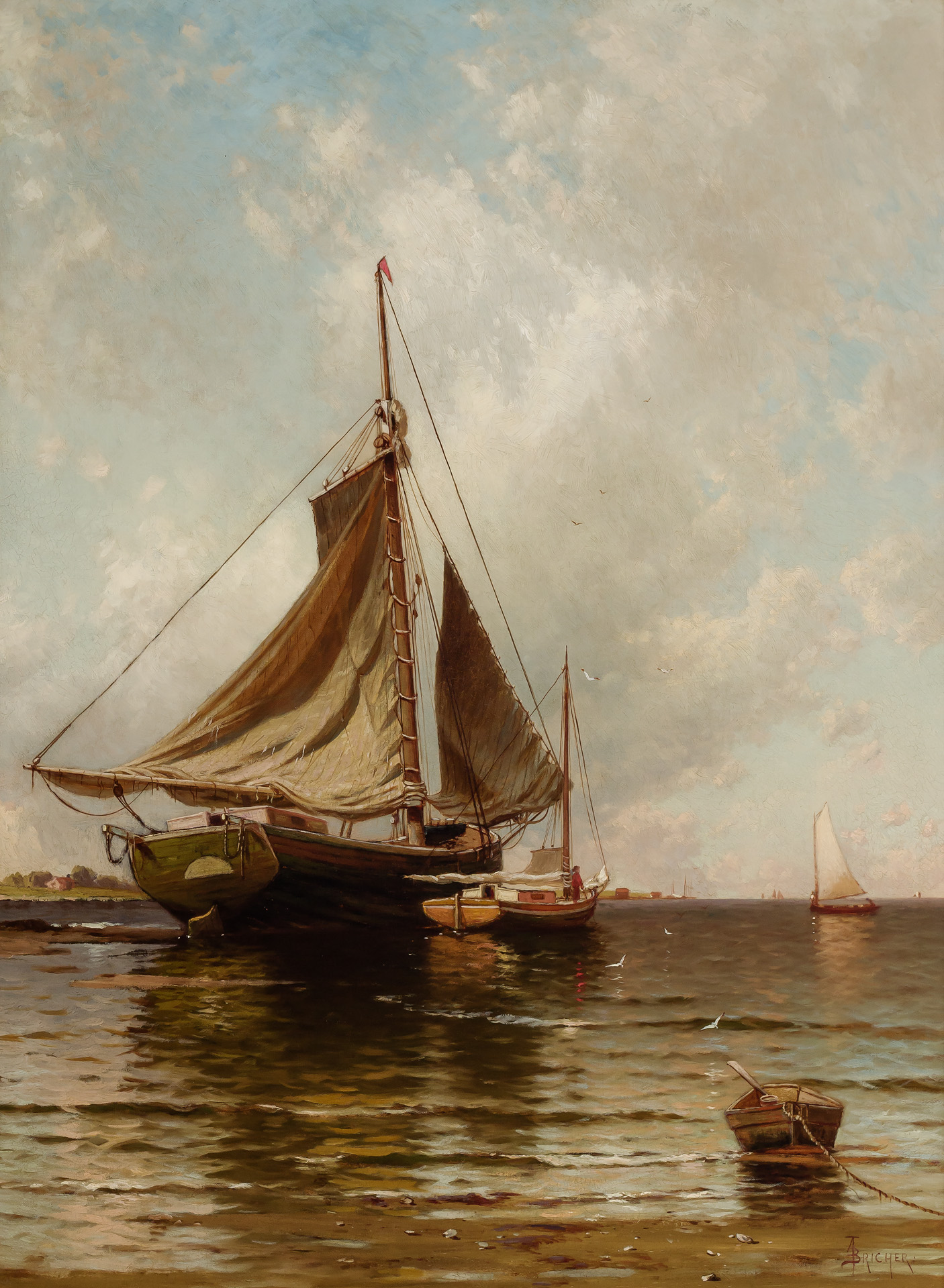 ALFRED THOMPSON BRICHER, American (1837-1908), The Open Coast, oil on canvas, signed, 38 x 28 inches, Estimate:$25,000-35,000