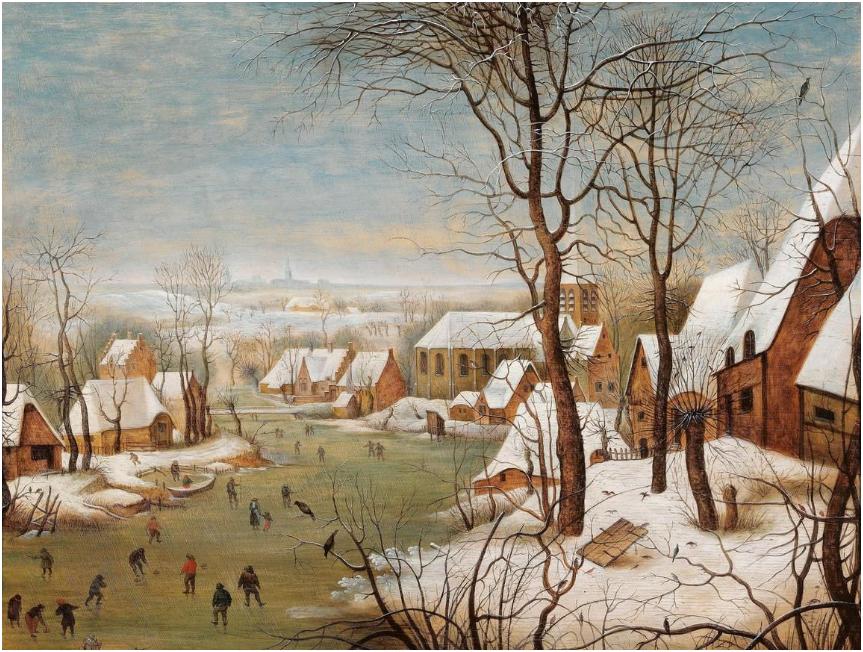 Pieter Brueghel, Bryssel 1564-1637/38. Ett vinterlandskap med en by och en fågelfälla, 45,5 x 58,5 cm. Utrop:
