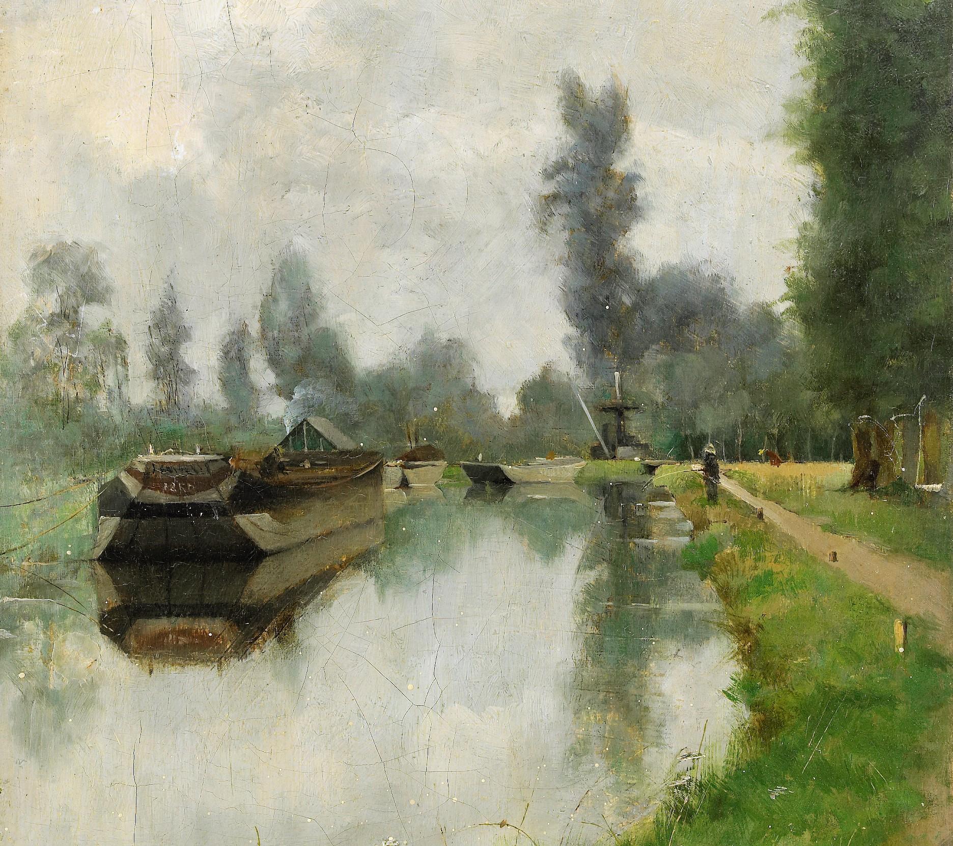 Julia Beck, Vid kanalen, Grez, 1883. Olja på duk. Foto: Stockholms Auktionsverk. Bild beskuren.