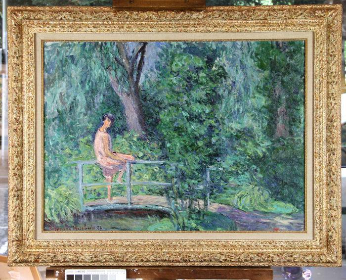 BLANCHE HOSCHEDÉ-MONET (1865-1947) - Nitia sur le pont dans le jardin de Claude Monet, 1927