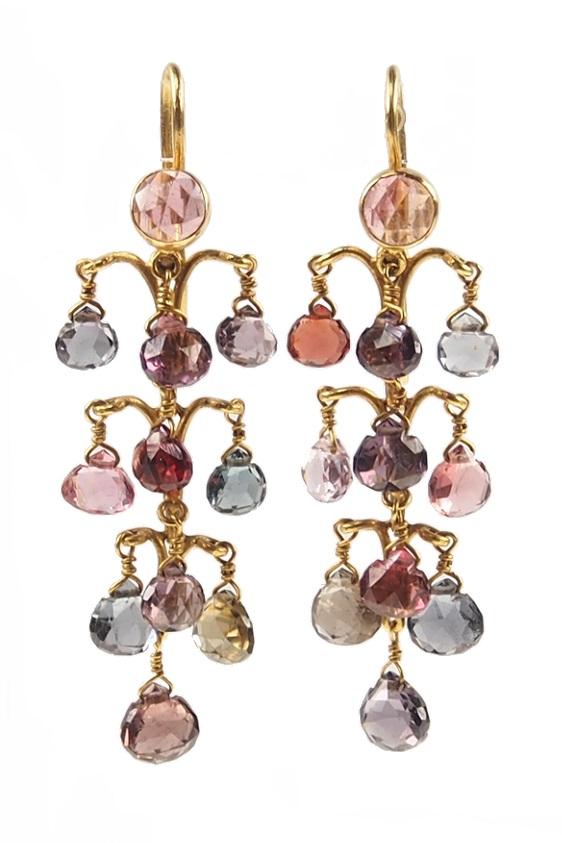 Jugendstil-Ohrringe, Gelbgold mit Saphiren und Turmalinen, Frankreich um 1900