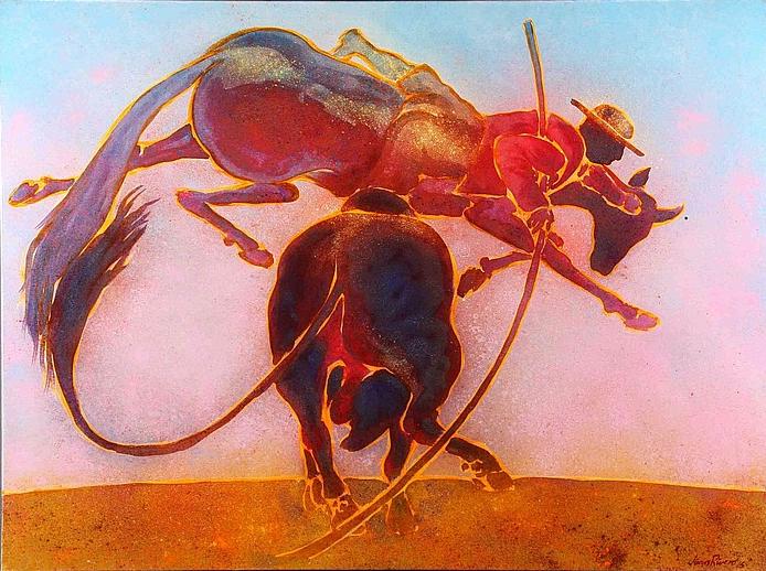 "Jun Manuel Rivero Prieto (1976), ""Cogida a caballo marrón"", Huile sur toile Estimation:"