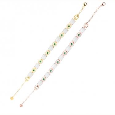 Deux bracelets jade et taaffeite Estimation: 150 €