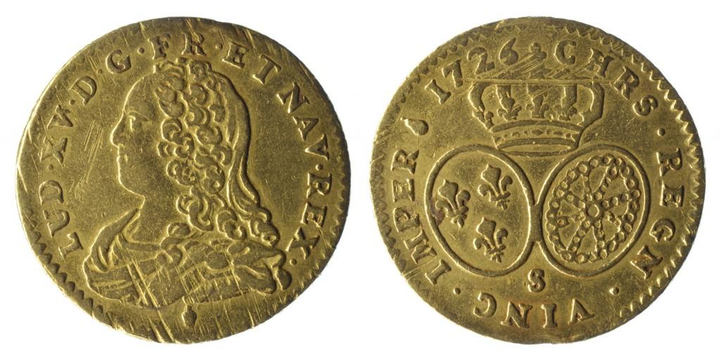 France 1726S Au ½ Louis D'Or (Reims Mint) Numisor