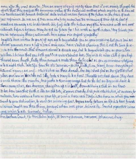 Nelson Mandela's letter to the Harmel family. Photo: Bonhams