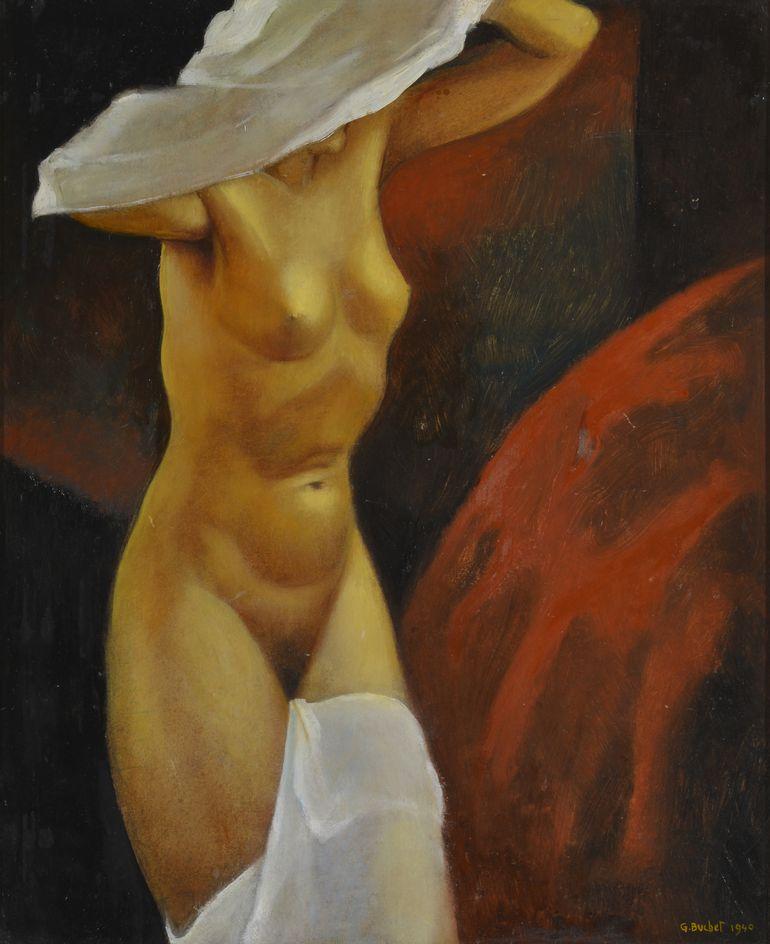 Gustave Buchet (1888-1963) Nu au drapé blanc, huile sur carton signée et datée 1940
