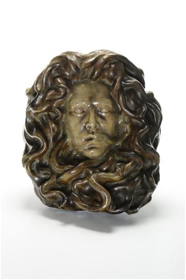 "GIORGIO KIENERK (1869-1948) for Chini Arte della Ceramica - ""Medusa"", bas-relief of partial glazed ceramic, 41 x 38 cm, Florence ca. 1900"