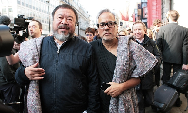 Ai Weiwei with Anish Kapoor on a walk of compassion for refugees Image via the Guardian