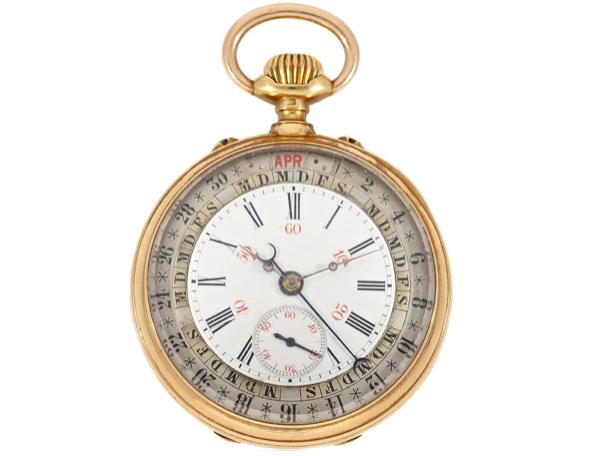 Moritz Grossmann, orologio da taschino con calendario completo, circa 1885. Foto: Cortrie