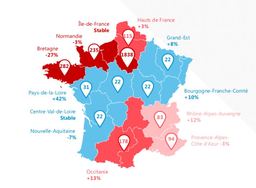 Répartition géographique des montants adjugés en 2018, image ©CVV