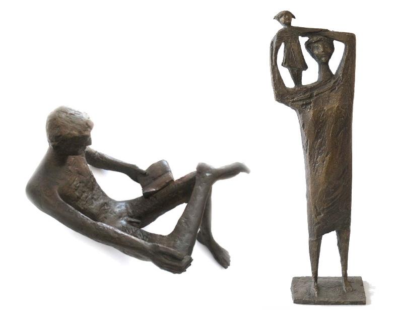 """ERICH """"FRITZ"""" REUTER (1911 Berlin- 1997 Stolpe) Links: Liegender Jüngling, Bronze, monogrammiert, wohl 1958/1988 Rechts: Mutter mit Kind 1959, Bronze, monogrammiert"""