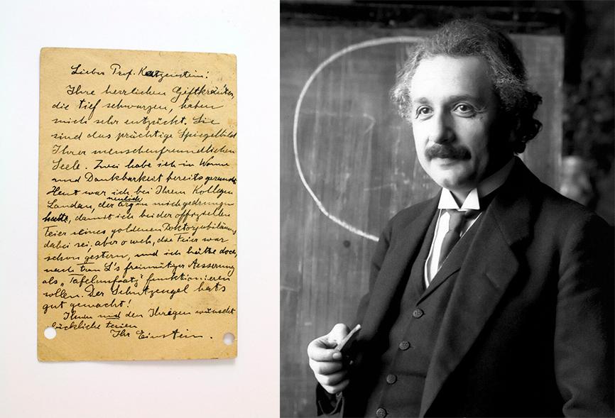 Albert Einstein (1879-1955), handgeschriebene und signierte Postkarte von 1920 | Foto: Zwack