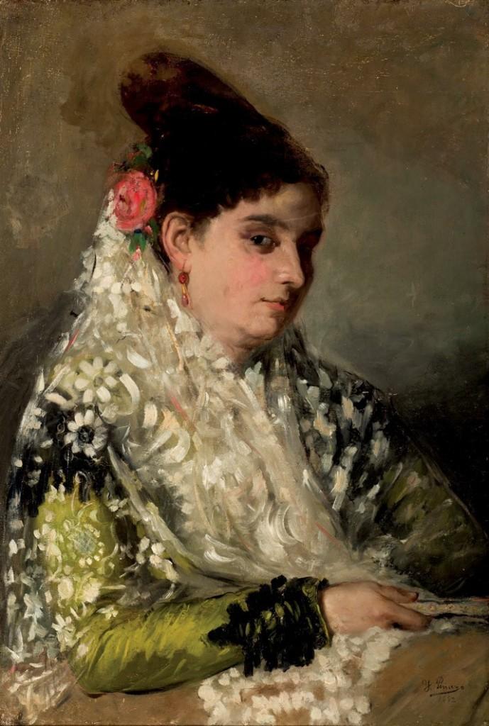 IGNACIO PINAZO CAMARLENCH. Maja con abanico (1892) Estimation basse: 6 000 €