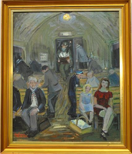 Åke Wickström F1927 kvällståget Händelse 1941, oljemålning duk, signerad Vekerum, atergo, 60x49. Utrop: 400 SEK. Västra Auktionsverket
