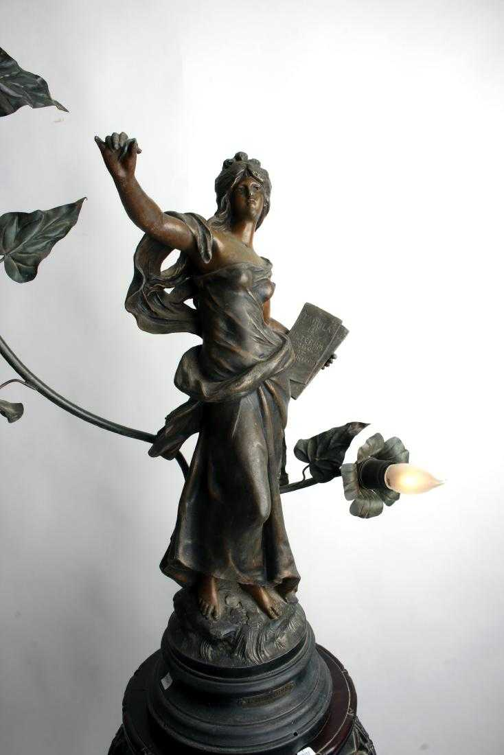 19th century French antique bronze L'Histoire lamp by Auguste Moreau, 36 inches by 18 inches, with stand that will be sold separately (est. $1,000-$1,500).