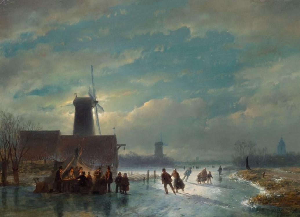 """Andreas Schelfhout, Winter landscape by night with skaters and a """"koek-en-zopie"""", huile sur bois, signé et daté, 1849, image ©Koller"""
