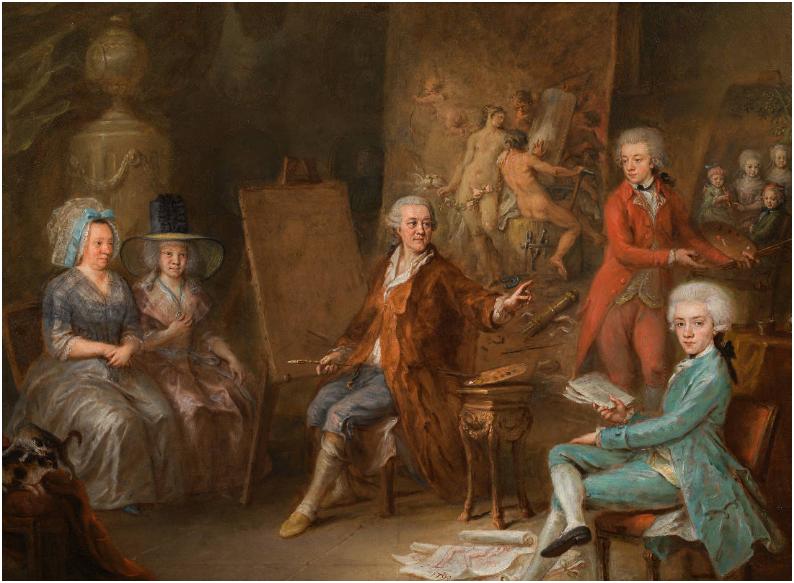 MARTIN JOHANN SCHMIDT gen. KREMSER SCHMIDT (Grafenwörth 1718 - 1801 Stein) - Familienbildnis Martin Johann Schmidt, Öl/Zinkblech, 72,4 × 86,4 cm, datiert, 1790 Rufpreis: 250.000 EUR