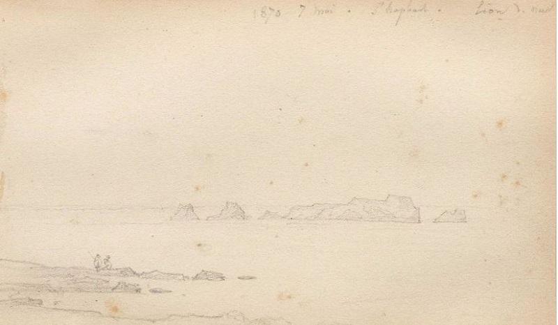 FRANÇOIS DIDAY. Formaciones rocosas en el agua. Tiza negra (1870)