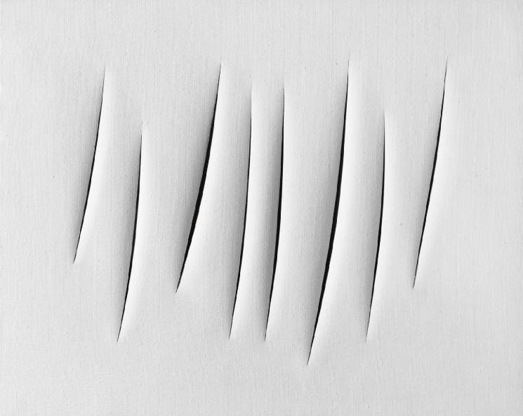 Lucio Fontana, en målning i vitt.