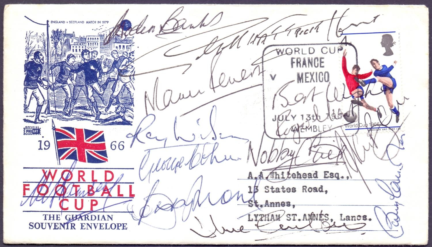 Collection of Stamps and Covers signed by 1966 World Cup players. Photo: Martello Philatelic Auctions