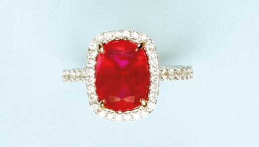 "Ring in white gold 750, adorned with an exceptional and extremely rare ruby: ""Pigeon's Blood"", cushion size of 5.52 cts"