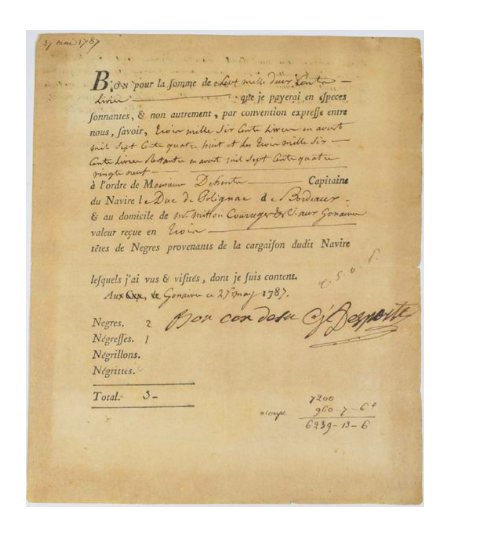 Voucher for a slave dealer in Santo Domingo. 1787.