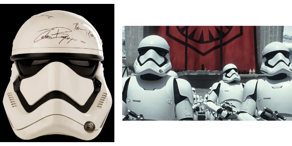 Signed Stormtrooper helmet from 'Star Wars: A Force Awakens'