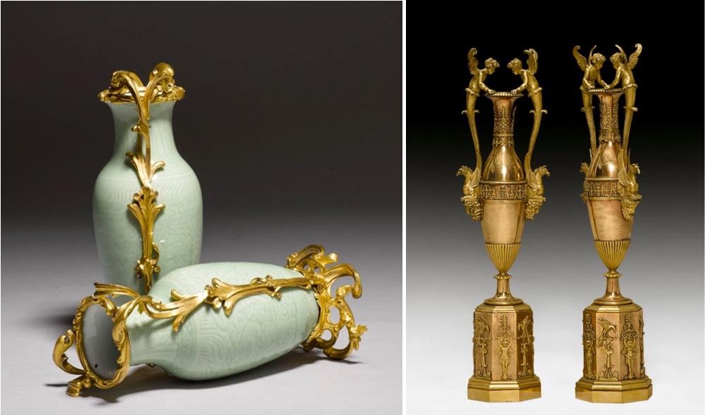 "Links: Paar Celadonvasen mit Bronzemontur, Porzellan aus China, Qianlong (1736-1795), Bronze aus Paris, 18. Jh.   Rechts: Paar Prunk-Vasen ""aux amours"", vergoldete Bronze, Pariser Meisterwerkstatt, um 1805/10"