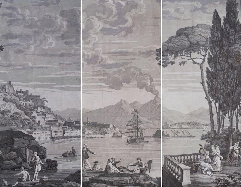 tto 1081 (183844)Manifattura di Dufour & Leroy (Francia 1821-1836)Vedute d'Italia o della baia di Napoli tre dipinti papier paint, cm 196x80