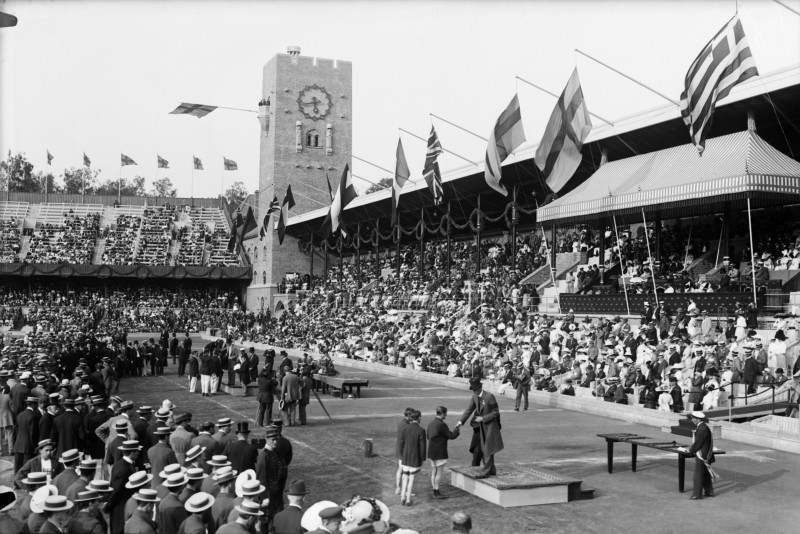 The Olympic Games in Stockholm in 1912. King Gustaf V at the awards ceremony at the Stockholm Stadium. Image: Stockholm source