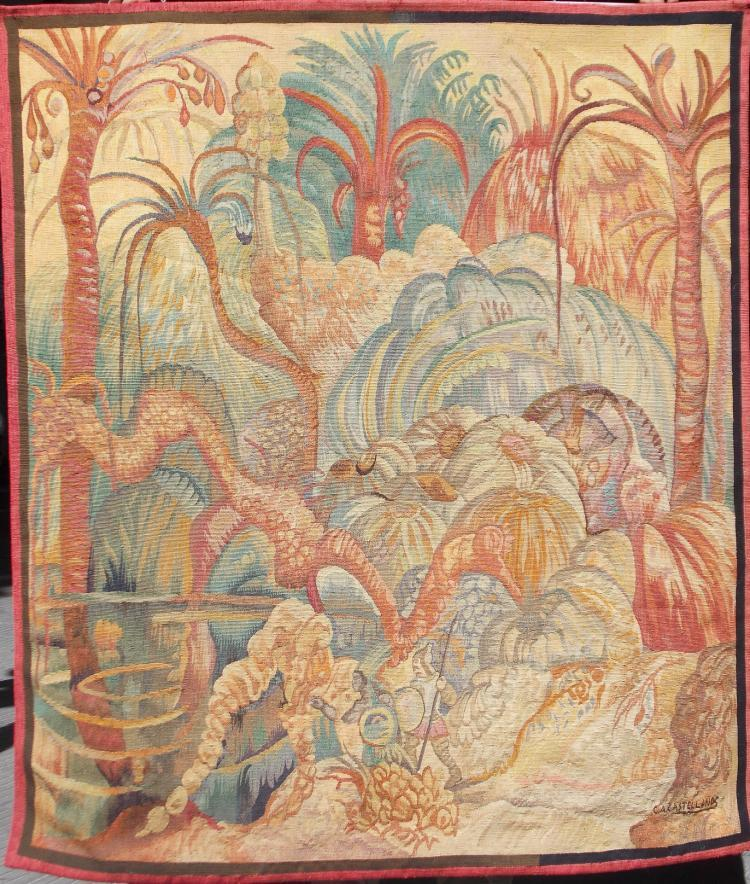 """Tapestry by Carlos Alberto Castellanos """"Allegory of the conqueror and the Indian"""". Signed: C. A. Castellanos"""